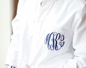 Wedding Shirt Monogrammed Button Down Oxford Bride's Shirt