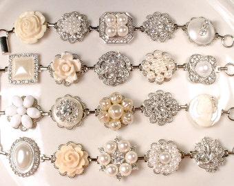 OOAK Shades of Ivory Pearl Rhinestone Silver Bridal Bridesmaid Bracelet Set 4 5 6 7 8, Vintage Wedding Earring Bracelet Rustic Romantic Gift