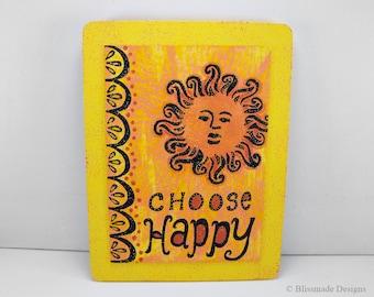 Wall Art Quote Frame - Choose Happy - yellow orange black sunshine sunny canvas