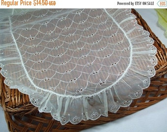 ON SALE 20% OFF Nylon white  Vintage Embroidered Table Scarf Oval and Round  three piece set
