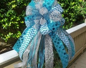Large Christmas Tree Topper Bows, Christmas Bow Topper, Treetop Bow, Silver White and Turquoise, Chevron Christmas Decoration