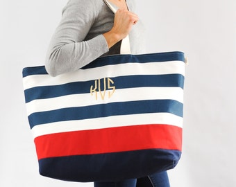 EXTRA Large Beach Bag // Tote in Navy Horizontal Stripes with Red Stripe, Monogram Available