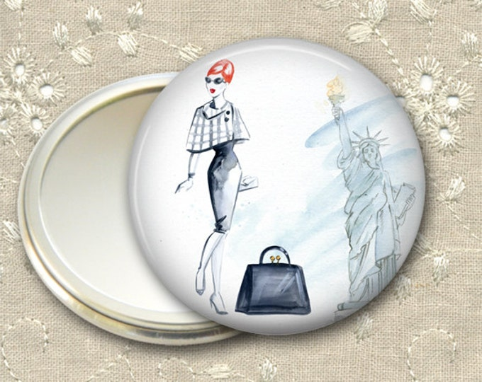 fashionista pocket mirror,  original art hand mirror, mirror for purse, gift for her,  bridesmaid gift, stocking stuffer  MIR-FASH-5