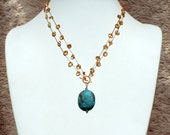Faceted Citrine Oval Drop Beads and Turquoise Pendant Necklace- PN 104