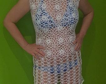 White crochet tunic, beach cover up, dress