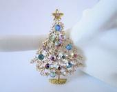 Christmas Tree Pin AB Rainbow Rhinestones Paste Set Frosty Matte Satin Finish Gold Tone Metal Very Pretty