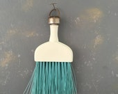 Vintage Whisk Broom, white aqua, kitchen decor, small broom