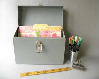 Vintage Metal File Box, Gray,  standard file