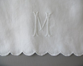 Vintage Monogram M Guest Towel, tea towel, dresser scarf, runner, white