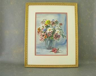 Framed Watercolor, Vintage, floral,  vase, flowers, still life, gold wood,