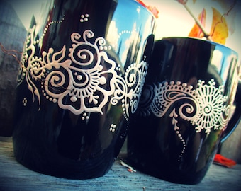 Black and Silver Mugs - hand-painted henna mehndi floral designs, set of 2