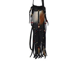 Red fox fur neck pouch leather medicine bag pow wow mountain man totem boho hippie