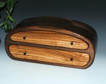 Handmade Zebrawood on Walnut Men's Wood Jewelry Box, Valet Box or Stash Box - Handmade in the USA by BurlWoodBox - Large Wood Jewelry Box
