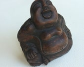 Vintage Carved Wood Laughing Buddha