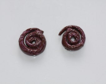 Ceramic Beads Handmade swirl clay art Beads double sided variety pack earthy organic artisan jewlery supplies potterygirl