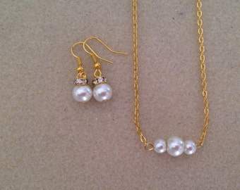Three Floating Pearls Necklace and Earrings Set -  Bridesmaid Gift Pearl Necklace and Earrings Jewelry Set