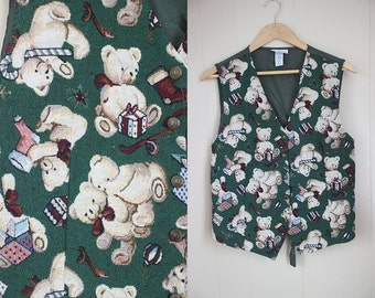 Ugly Christmas Sweater Party Vest Vintage Holiday Teddy Bears Tapestry XL