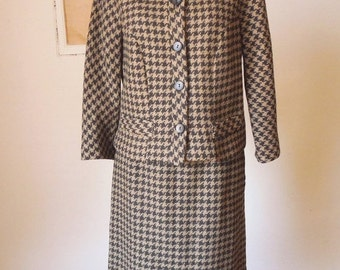 LAST CHANCE SALE... Vintage 60's Skirt Suit, Teddy Bear Brown and Black Houndstooth, Jacket and Skirt, Double Breasted, Size Medium, Waist 2