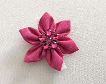 Pink Rhinestone Dog Collar Flower- Ready to Ship