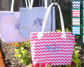 3 Personalized Bridesmaids Tote Bag **SALE** ,Bridesmaids Gifts, Bridesmaid Totes, Chevron Tote, Seersucker Beach Bag, Monogram Bridesmaid