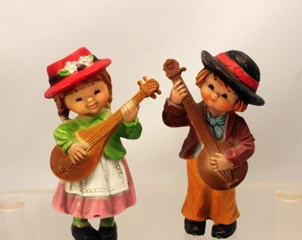 Miniature Girl Boy Figurines Folk Musicians Hippy 1960s Plastic Cute Flower Children