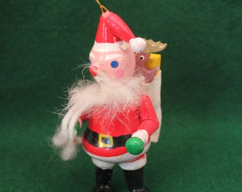 Vintage Wood Ornament Santa Claus with Bag of Toys Christmas Decoration