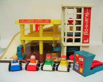 Vintage Fisher Price Garage Set - Complete