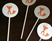 Fox themed Cupcake toppers - Set of 12