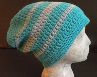 Adult Slouch Hat, Crocheted Hat, Turquoise and Light Blue, Rasta Style, Winter Hat