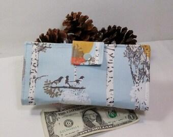 Bird Wallet, Modern Wallet, Birch Trees, Light Teal Wallet, Bifold Clutch Wallet, Made in USA