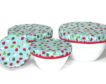 Christmas Lights - Washable Bowl Covers -  Set of 4 Bowl Covers - Moisture Proof Lining -  Holiday Fabric Bowl covers