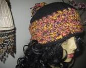 crochet hat black yellow lavender pink wool blend dreadlocks boho hippie