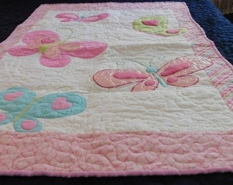 Butterfly Baby Quilt, Baby blanket, butterflies, appliquéd quilt, flannel blanket, flannel quilt, baby gift, baby shower, butterflies quilt