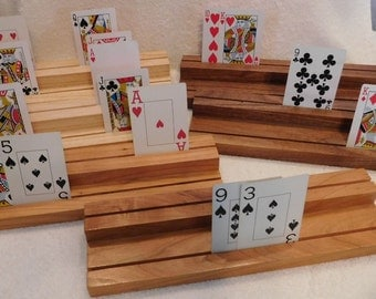 Choice of 1 Set Handmade Playing Card Holders, handcrafted, recycled wood, cards, reclaimed wood, custom made card holder, arthritus