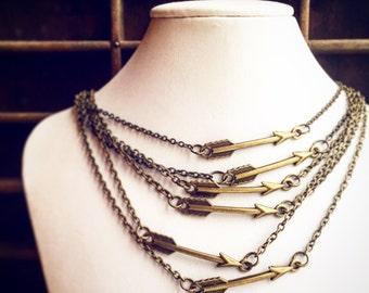 10 Arrow Necklaces / Wholesale Lot Handmade Necklaces / Antique Bronze Brass / Gift Shop Bridesmaids Wedding LARP Resale Quantity Festival