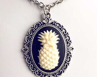 Pineapple Cameo Necklace / Antique Silver Pick Your Length / Tropical Fruit Lover Gift / Bohemian Wedding Gypsy Steampunk Boho Bohemian