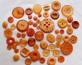 50 Buttons, Orange Button Mix Assorted sizes and shapes, Art, Crafting, Sewing, Jewelry  (AA 125)