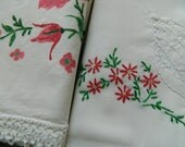 2 Beautiful Printed/Painted/Embroidered Vintage Pillowcases