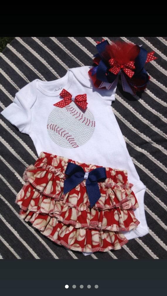 Baby girl baseball body suit /ruffled baseball bloomer/ baseball outfit/baseball coach