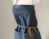 Full Apron Woman Blue Chambray Short Skinny Leather Straps Rustic Kitchen