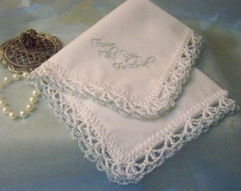 Wedding Handkerchief, Hanky, Hankie, Something Blue, Bridal, Hand Crochet, Hand Embroidered, From this day, Lace, Sparkle, Bridal keepsake