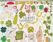 SALE - Irish Lucky Charm ClipArt, St Patrick's Day Clip Art, Good Luck Rabbit Foot, Lucky Pig & Elephant, Mushroom, Clover Illustration