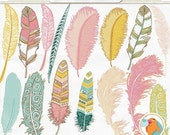 SALE - Aztec Feather ClipArt, Hand Drawn Tribal Clip Art, Girl Graphics, Pink, Teal & Yellow Feather Silhouette, DIY Trendy Digital Image