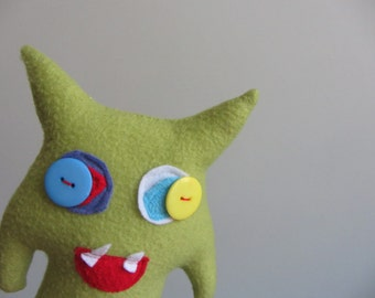 Plushie Monster made from Upcycled Materials, Stuffed Animal Creature, Plush Toy, Plush Monster, Silly Monster, Green Monster Doll