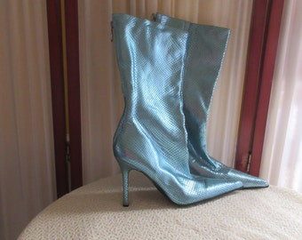 Wicked Witch turquoise leather pointed toe textured boots sz 41? by Aldo-Costume-Stylish-Quirky