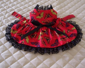 XS-S Red with Butterflies Dog Dress Handmade Lace Bow Clothes pets Apparel