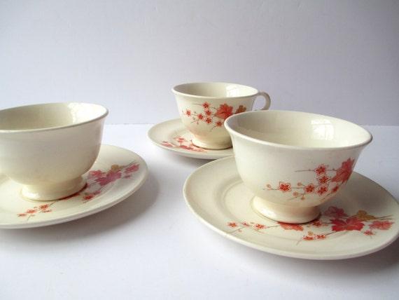 Vintage Ravine Triumph Orange Coral Triumph Teacups and Saucers Set of Three