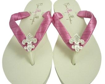 Fleur de Lis with Pink satin Wedding Bling Flip Flops- Bridal Sandals-Ivory Wedge-White Flat-Platform Bride heel bridesmaids Bling