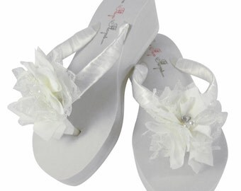 White / Ivory Lace Chiffon Wedding Flip Flops for the Bride & Bridesmaids