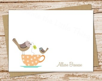 teacup birds note cards notecards set folded personalized stationery stationary tea cup | set of 8